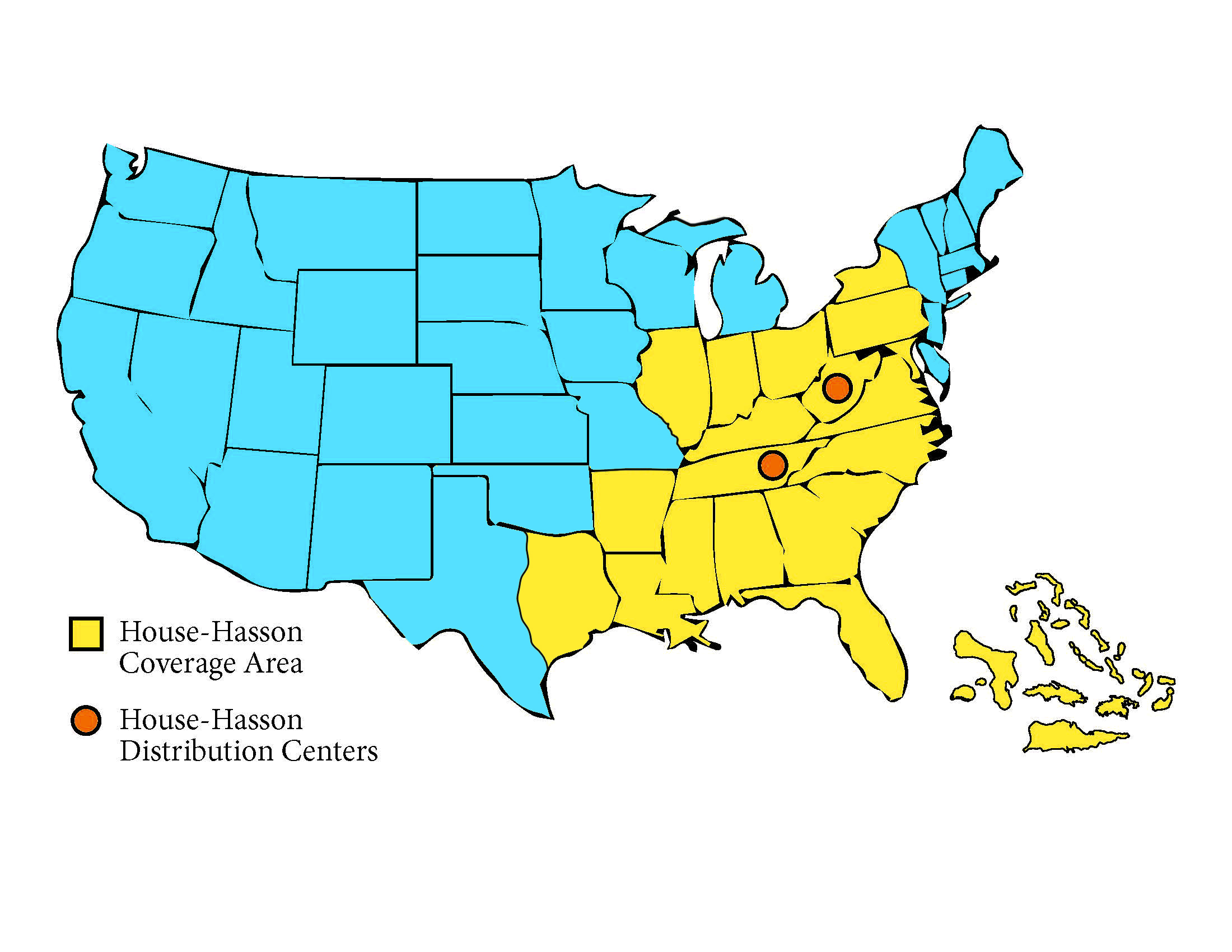 United States map of House-Hasson's coverage area
